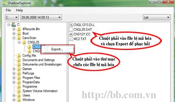 Duyệt cây thư mục trên công cụ ShadowExplorer chọn dữ liệu cần phục hồi