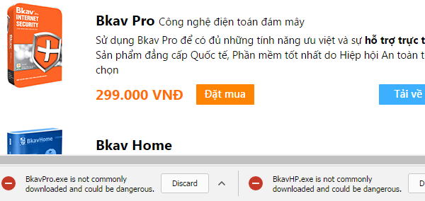 Thông báo BkavPro.exe is not commonly downloaded and could be dangerous