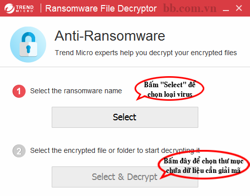 Cách giải mã dữ liệu bị virus mã hóa bằng Trendmicro Decryptor - BB