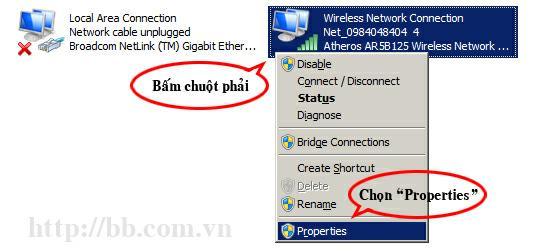 """Bấm chuột phải vào kết nối mạng và chọn """"Properties"""""""